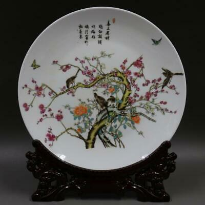 Chinese ancient antique hand make Pink flower and bird plate
