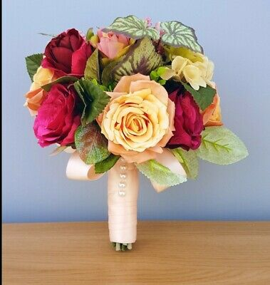 Beautiful Autumnal Hand Tied Rose and Foliage Mix Bridal Bouquet