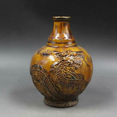Chinese ancient antique hand make Dragon-phoenix pattern vase c49