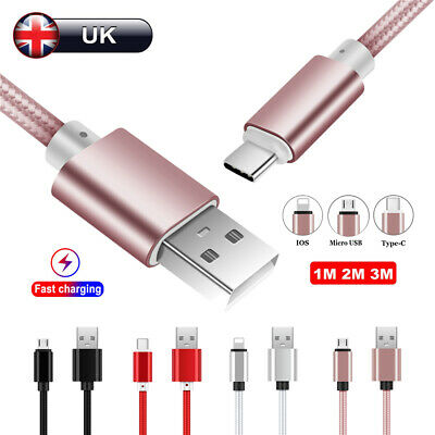 UK Heavy Duty Braided Micro USB C IOS Fast Charger Data Cable For Samsung iPhone
