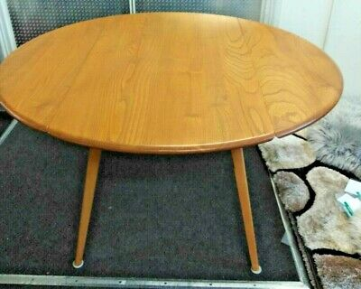 ERCOL ORIGINALS Mid-Century Blue Badge Elm Beech GD Drop Leaf Dining Table - F17