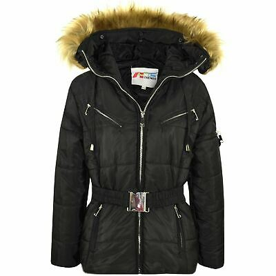 Kids Girls Jackets Puffer Hooded Faux Fur Black Padded Zipped Belted Warm Coats