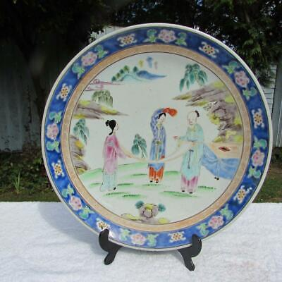 "Large 13"" Japanese Antique Meiji Famille Rose Charger - Polychrome Decoration"