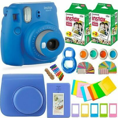 New Fujifilm Instax Mini 9 Camera+40 Sheets Film+Album+Filter+Lens+Gift Set Blue
