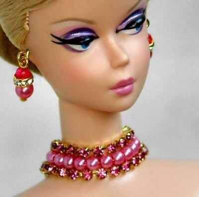 Handmade doll jewelry necklace earrings fits Barbie dolls #078