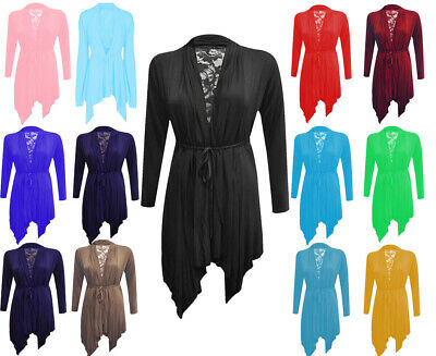 Ladies Women Floral Lace Back Long Sleeve Flared Waterfall Cardigan UK Size 8-16