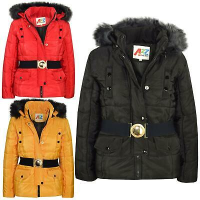 Kids Girls Puffer Jacket Faux Fur Hooded Padded Zipped Belted Top Warm Coat 5-13