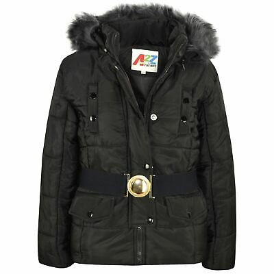 Kids Girls Puffer Jackets Black Faux Fur Hooded Padded Zipped Belted Warm Coats