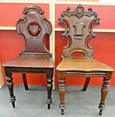 Pair Of Antique Victorian / Renaissance Style Solid Mahogany Dining Chairs - E35