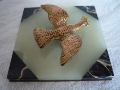 Art Deco Gilt Bird With Cross On Base French Onyx And Marble Wall Hanging