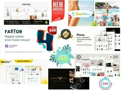 Top 7 UNLIMITED⚡Shopify Templates▸Fastor•Focus•Electro•BikiniBeach•Flone…Themes✅