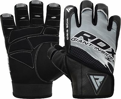 RDX Leather Weight Lifting Gym Gloves Training Fitness Exercise Wrist Support  L