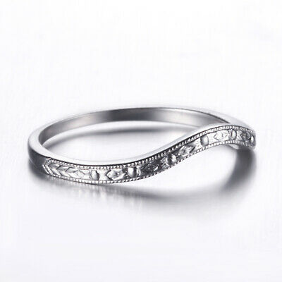 Solid 14k White Gold Vintage Antique Jewelry Anniversary Bands Wedding Fine Ring