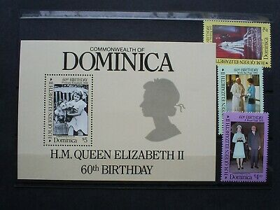 Dominica Stamp Mini Sheet & Set Of 3 Stamps 1986 Q.e.ii 60Th Birthday..un M/Mint