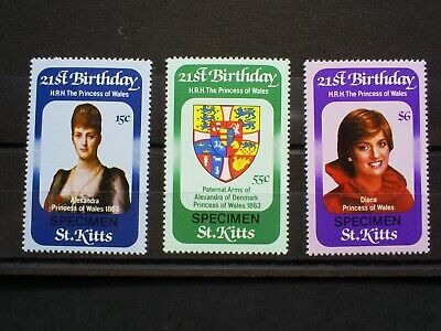 St Kitts Stamps  Princess Of Wales 21St Birthday Set Of 3 ,Overprint Specimen.