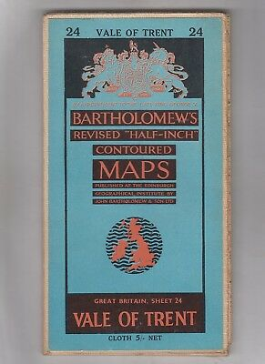 Bartholomew's Half-Inch Map = Vale Of Trent = Sheet 24  =  {5/- Cloth Edition} =
