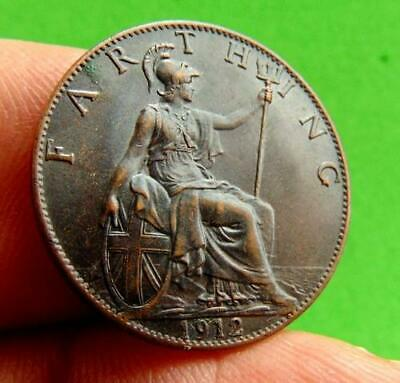 DARK  FINISH  1912  UNC  GEORGE  V  FARTHING  1/4d....from  LUCIDO_8  COINS