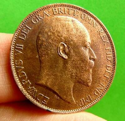 STUNNING  LUSTRED  UNC  EDWARD  VII  * 1902 *  PENNY  1d ......LUCIDO_8  COINS