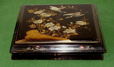 ANTIQUE SCROLL BOX JAPANESE MOTHER OF PEARL INLAID BIRDS CRANES INSECTS cir 1890