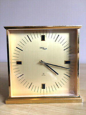 High Quality Vtg IMHOF 8 15 Jewel Gold Plated Brass Mantle Clock #100 870 SWISS