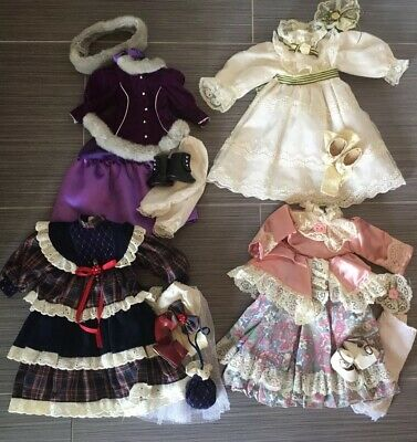 """Lot of 4 Vintage Doll Clothes OUTFITS Dresses w/ shoes hair accessories 16""""-17"""""""