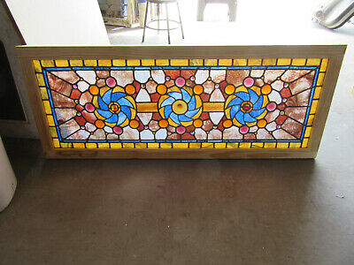 ~ Outstanding Antique Stained Glass Transom Window 52 Jewels ~ 57 X 23 ~ Salvage
