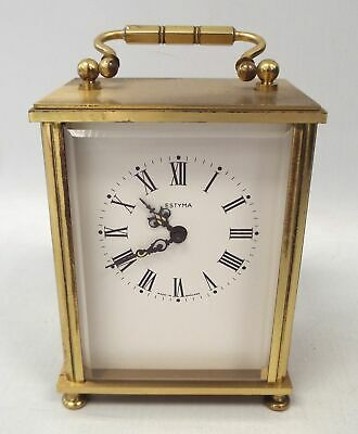 Vintage ESTYMA Small Brass Wind Up Carriage Clock - S77