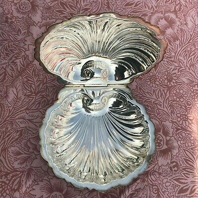 Silver Plated Ornate Decorative Mappin & Webb Silver Plated Clam Shell Jam Dish