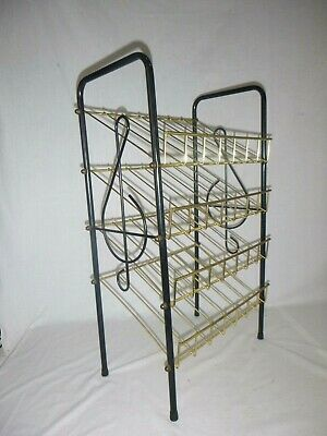 "Vtg Mid Century Metal Wire Music Record Stand Shelf Treble Clef Motif 26"" H"