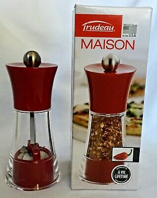 Trudeau Maison 10 inch Black Wooden Pepper Mill with Peppercorns SHIPS FREE!