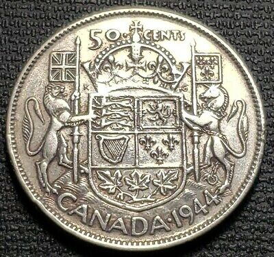 1944 Canada Silver 50 Cent Half Dollar Coin - Great Condition - Polished