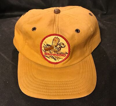 vintage Browning Firearms Hunting Hat - Quail Patch - foam inside - antique cap