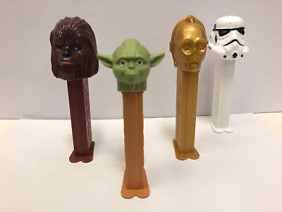 Star Wars 4pc Pez Dispenser Set Yoda Chewbacca Stormtrooper C-3PO