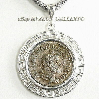 PHILIP I Silver Tetradrachm Large Ancient Roman Coin Sterling Bezel, Steel Chain