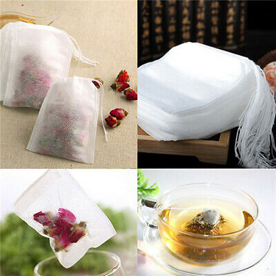 100 Pcs Empty Non-Woven Fabrics Teabags String Filter Herb Loose Tea Bags  Boil