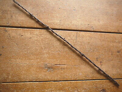 BAKERS FLAT BARELY BARBS on TWO of THREE  LINES - ANTIQUE BARBED BARB BOB WIRE