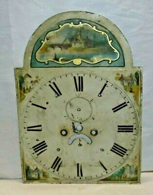 ANTIQUE ENGLISH TALL CASE GRANDFATHER CLOCK DIAL 18th CENTURY HAND PAINTED