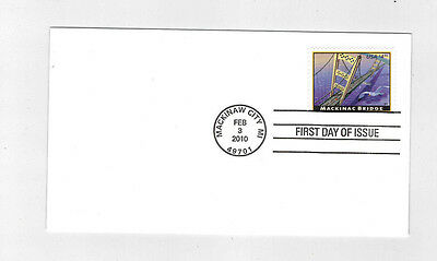 #4438 2010 $4.90 Mackinac Bridge Priority Mail FDC No Cachet Helicopter