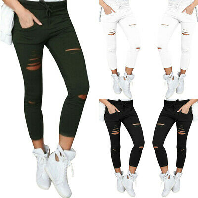 Women's Skinny Ripped Long Pants High Waist Stretch Jeans Pants Pencil Trousers