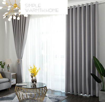 2X Blackout Curtains Dimout Thermal Pencil Pleat Tape Top Ready Made Eyelet +Tie