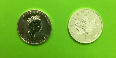 5 can-$  Maple Leaf 1990 Silber 1 Unze