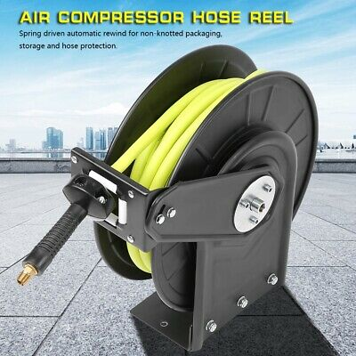 """3/8"""" X 50 ft Metal Retractable Air CompressorHose Reel 300PSI with NPT Interface"""