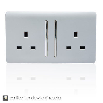 *Auction* Trendi 2 Gang Modern Gloss 13 Amp Switched Tactile Plug Socket Silver