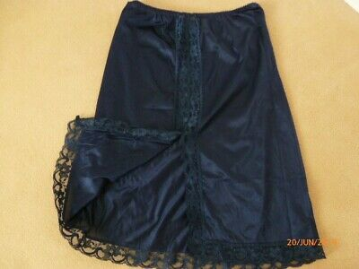 Vintage 1980s, St Michael's Dark Blue short petticoat, small, 22 in long, used