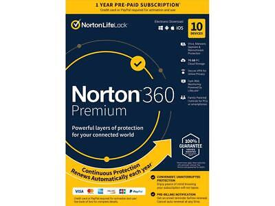 Norton 360 Premium - Antivirus software for 10 Devices with Auto Renewal - Inclu