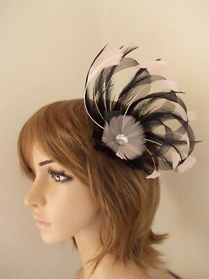 Black Pale Pink Loop fascinator feathers diamante hair clip/brooch