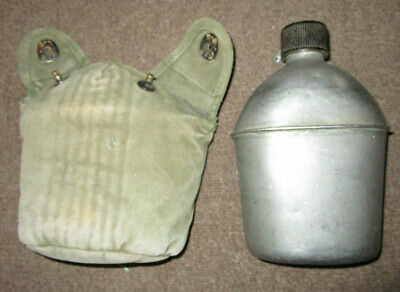 Original Us Army Canteen Set With 1945 Canteen And Olive Drab Cover