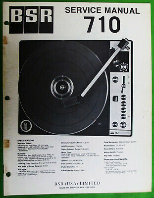 Service Manual For Bsr Turntable Model 710  Original Not A Copy 16 Pages