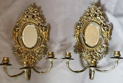 Pair of Antique 19th Century French Brass Putti wall Girandole wall candelabra