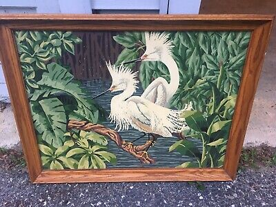 Vintage 50s 60s Paint by Number Painting Framed White Birds Heron Egrets